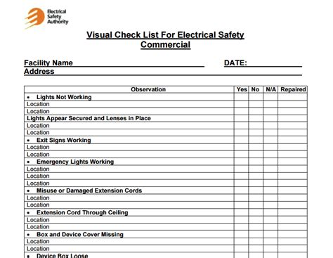 facility maintenance checklist templates excel xlts