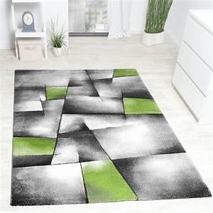 Teppich Grün Grau : designer teppich modern kariert mit handgearbeitetem konturenschnitt grau gr n wohn und ~ Markanthonyermac.com Haus und Dekorationen