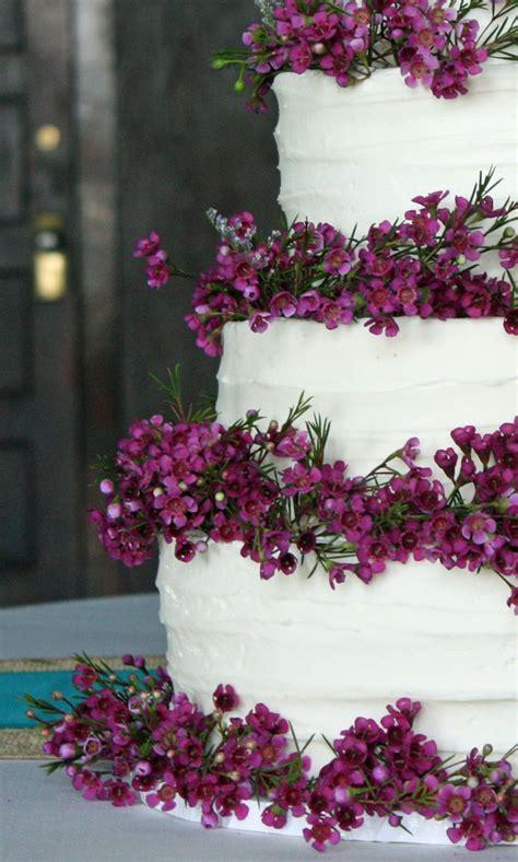 Purple Wax Flowers On Rustic Wedding Cake Cakes Wedding