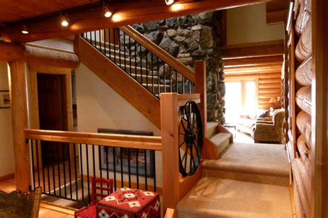cabin stair remodel  bathroom addition traditional