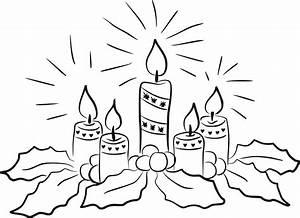 Clipart - Christmas Candles Line Art