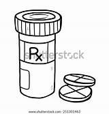 Pill Sketch Bottle Medicine Cartoon Template Coloring sketch template