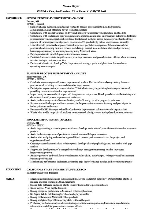 Process Improvement Analyst Resume Samples  Velvet Jobs