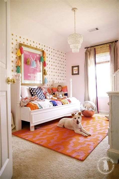 kids bedroom ideas orange rug  wall  wall carpet