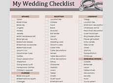 Wedding Essentials Checklist Template » Template Haven