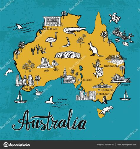 hand drawn sketch map  australia stock vector