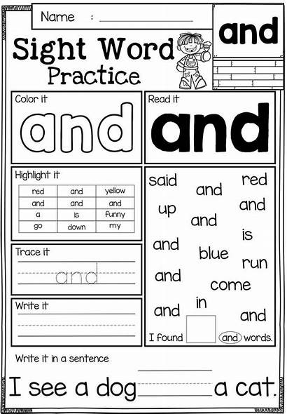 Sight Word Practice Words Worksheets Pre Kindergarten