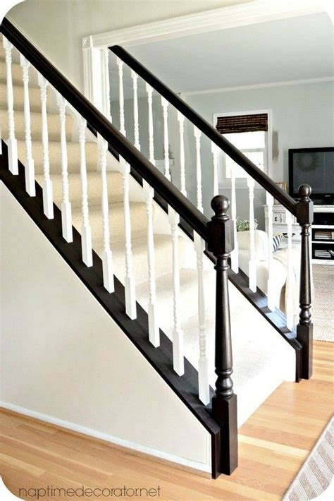 espresso base white spindles banister   stair