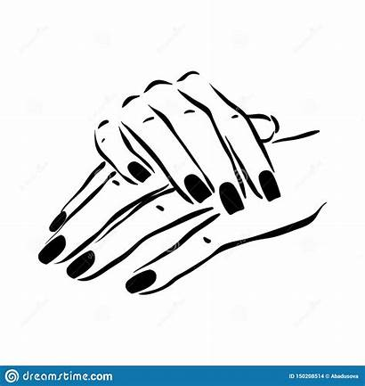 Nail Manicure Hands Polish Woman Drawn Vettore