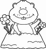 Groundhog Coloring Pages Happy sketch template