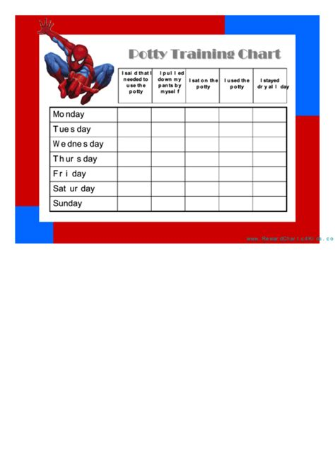 spiderman potty training sticker chart printable