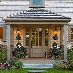 Grey Shingle House with Grey Front Door & Covered Porch