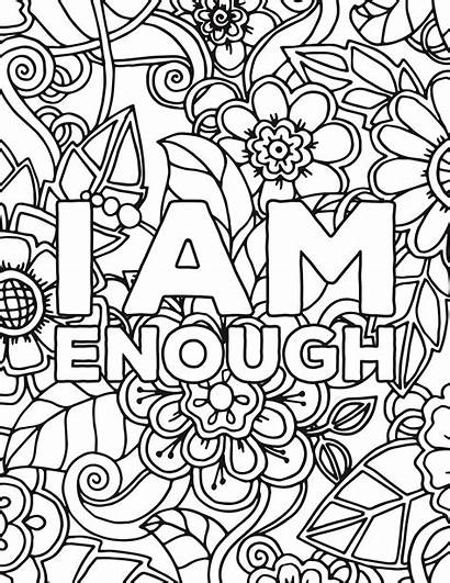 Coloring Pages Self Affirmations Adult Colouring Printable
