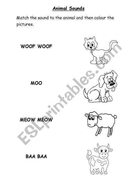 english worksheets animal sounds