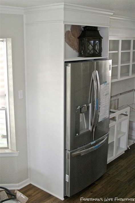 small white kitchen makeover  built  fridge