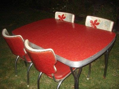vintage red formica table  wingback chairs chrome legs