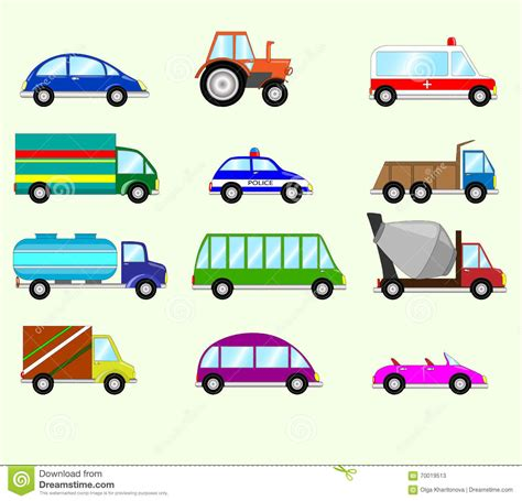 Illustration Of Different Types Vehicles. Stock Vector