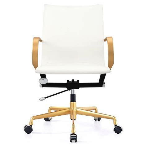 white and gold desk chair white leather aluminum gold desk chair