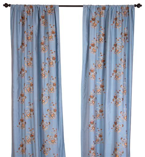 silk dupioni blue embroidered curtain panel 108