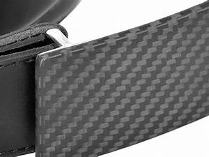 Carbon Touch Black Leather Belt With Carbon Fiber Buckle