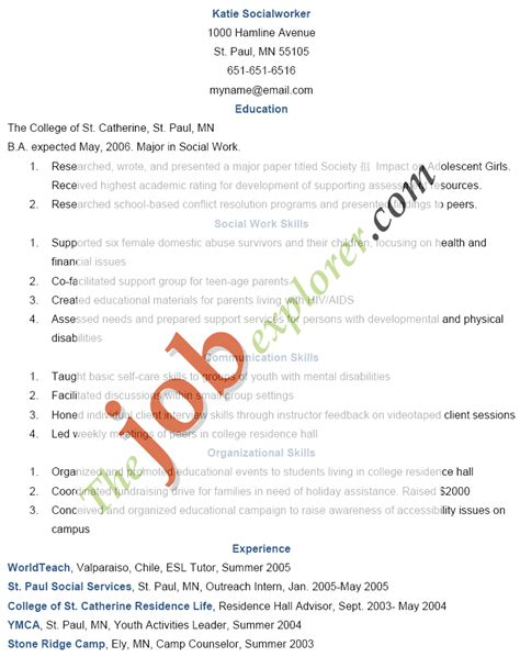 Social Work Summary For Resume by Resume Sle Social Worker Resume Exle Social Work Resume Bsw Sle Social Worker