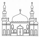 Mosque Coloring Masjid Printable Islam Crafts sketch template