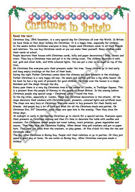 christmas in britain reading comprehension esl