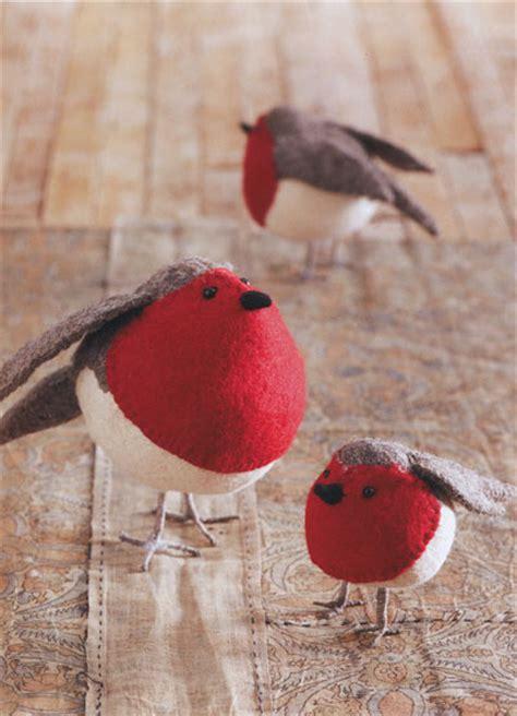 american robin birds felt ornaments holiday decor set