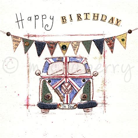 happy birthday card vintage  cards vw camper