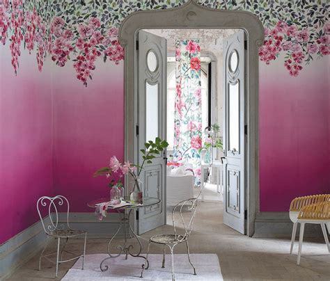 trailing rose panel  designers guild peony wallpaper
