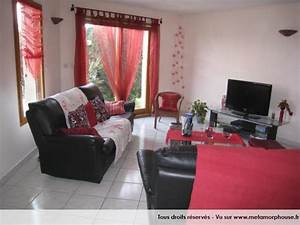 deco salon design rouge With tapis de course avec canapé cuir brun
