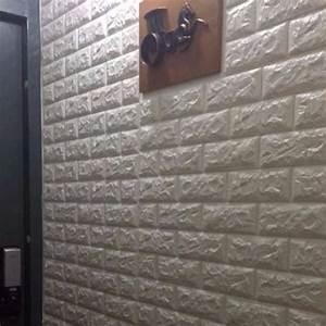 Light Grey Peel And Stick Tile White Foam Bricks 3d Diy Wallpaper Home Decor Furniture