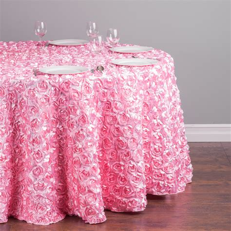 pink kitchen tablecloth 118 in satin rosette tablecloth pink for weddings