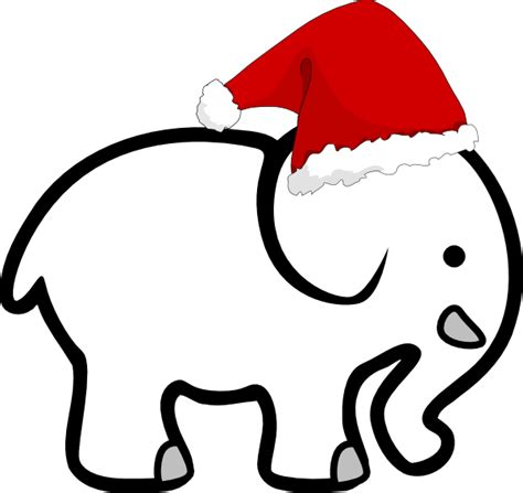 white elephant with santa hat clip art at clker com