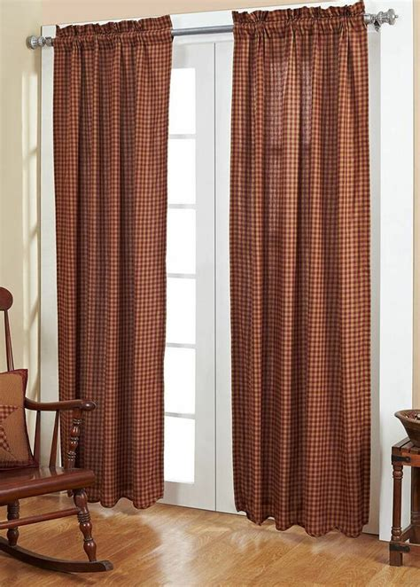 Plaid Drapery Panels by Burgundy Check Panel Set Primitive Plaid Country