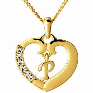 initial necklace letter p 18k yellow gold plated With gold letter p pendant