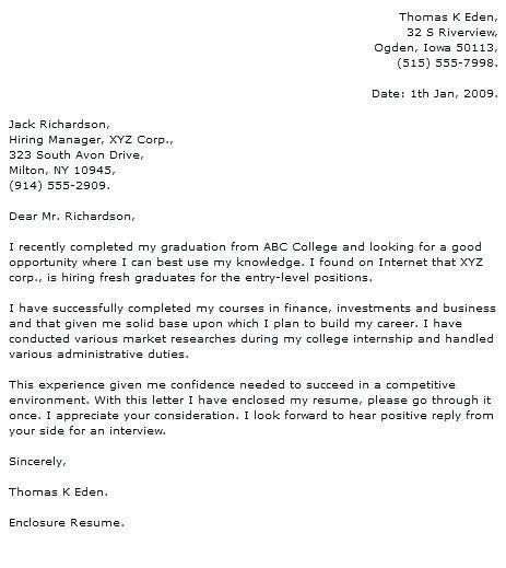 application letter sle for fresh graduate financial