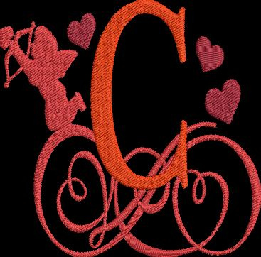 valentines day alphabet machine embroidery design monogram