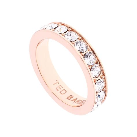 Ted Baker Claudie Crystal Rose Band Ring at Jewellery4.com