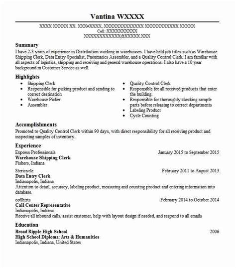 Shipping Clerk Resume by Warehouse Shipping Clerk Objectives Resume Objective