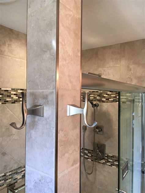 stainless steel bathroom accents  metal schluter