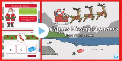 * New * Christmas Missing Phonemes  Phase 2 Final Sounds