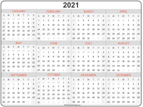 year calendar yearly printable