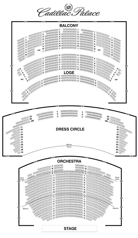 cadillac palace theatre master theater seating charts cadillac palace theatre seating chart theatre in chicago
