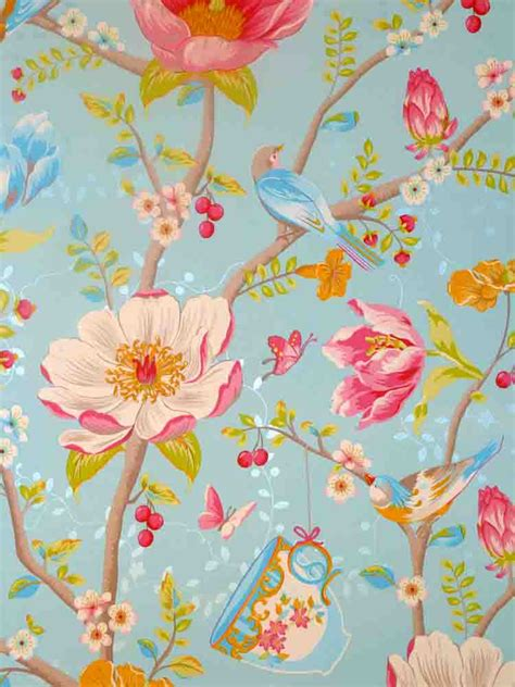 Pip Studio Fleece Wallpaper 341002 Blumenmuster Bird blue