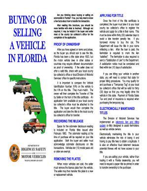 florida proof of vin form florida motor vehicle bill of sale form templates