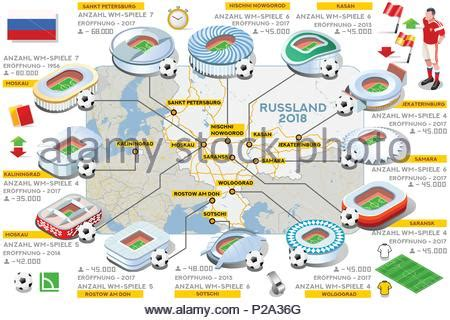 Russie Carte Coupe Du Monde by La Russie 2018 Stade De Football Carte Infographique