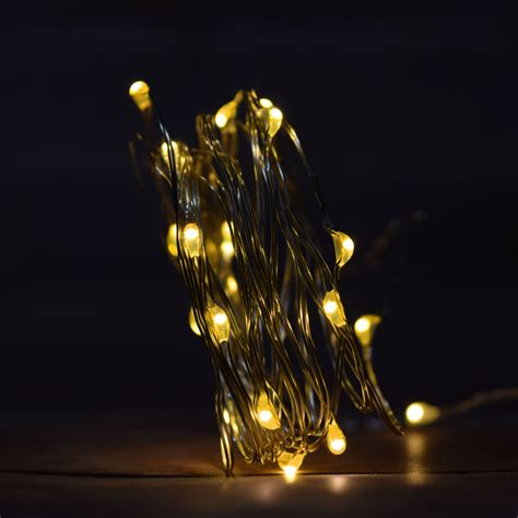 battery operated string lights 20 warm white led wire waterproof string lights w