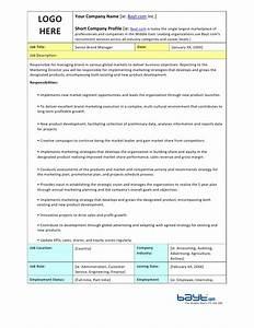Senior brand manager job description template by baytcom for Events manager job description template