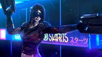Cyberpunk Neon Futuristic Cyborg Woman Cgi Gun